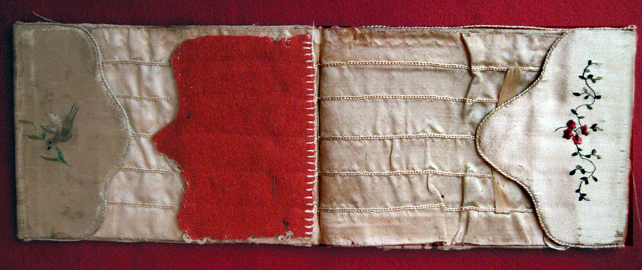 interior of silk needle case made by Abigail Adams