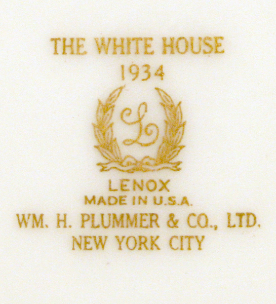 raleigh degeer amyx collection,franklin rooosevelt white house china,white house china,official white house china,presidential china,
