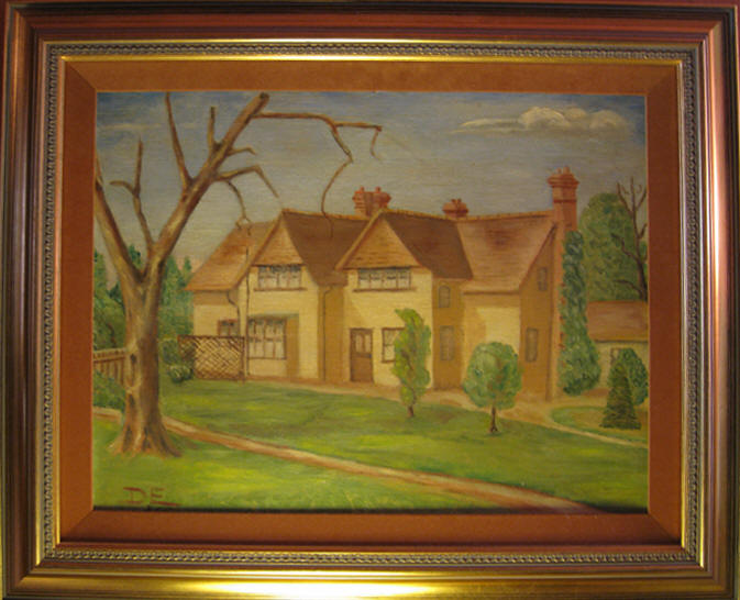 PAINTING DWIGHT EISENHOWER|IKE PAINTING|TELEGRAPH COTTAGE|IKES WORLD WAR 11 HEADQUARTERS|THE RALEIGH DEGEER AMYX COLLECTION|THE AMERICAN HERITAGE COLLECTION|