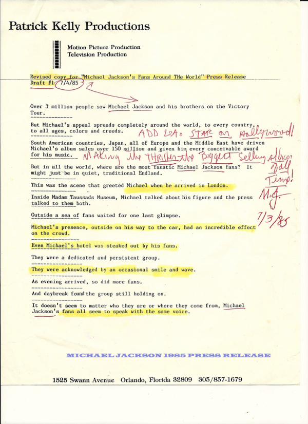 A press release with Michael Jackson's hand-written notes