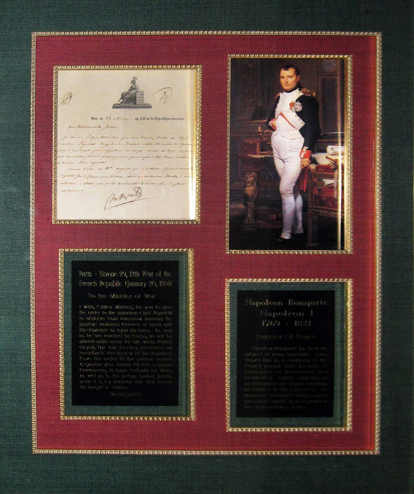 NAPOLEON DS NAPOLEON LS NAPOLEON LETTER SIGNED NAPOLEON DOCUMENT SIGNED THE RALEIGH DEGEER AMYX COLLECTION THE AMERICAN HERITAGE COLLECTION 