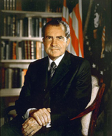 President Richard M. Nixon in his stately White House offices