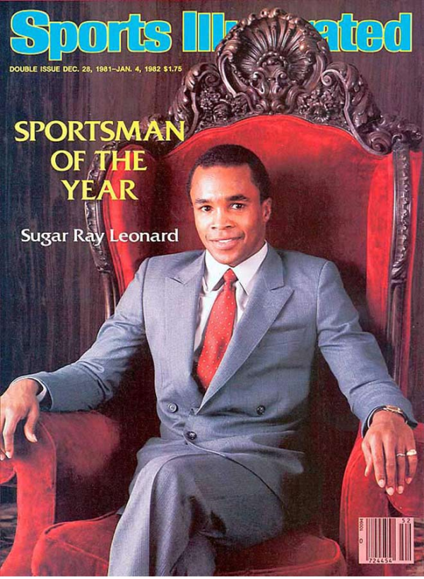 SUGAR RAY LEONARD SITTING A CHAMPION OF THE WORLD
