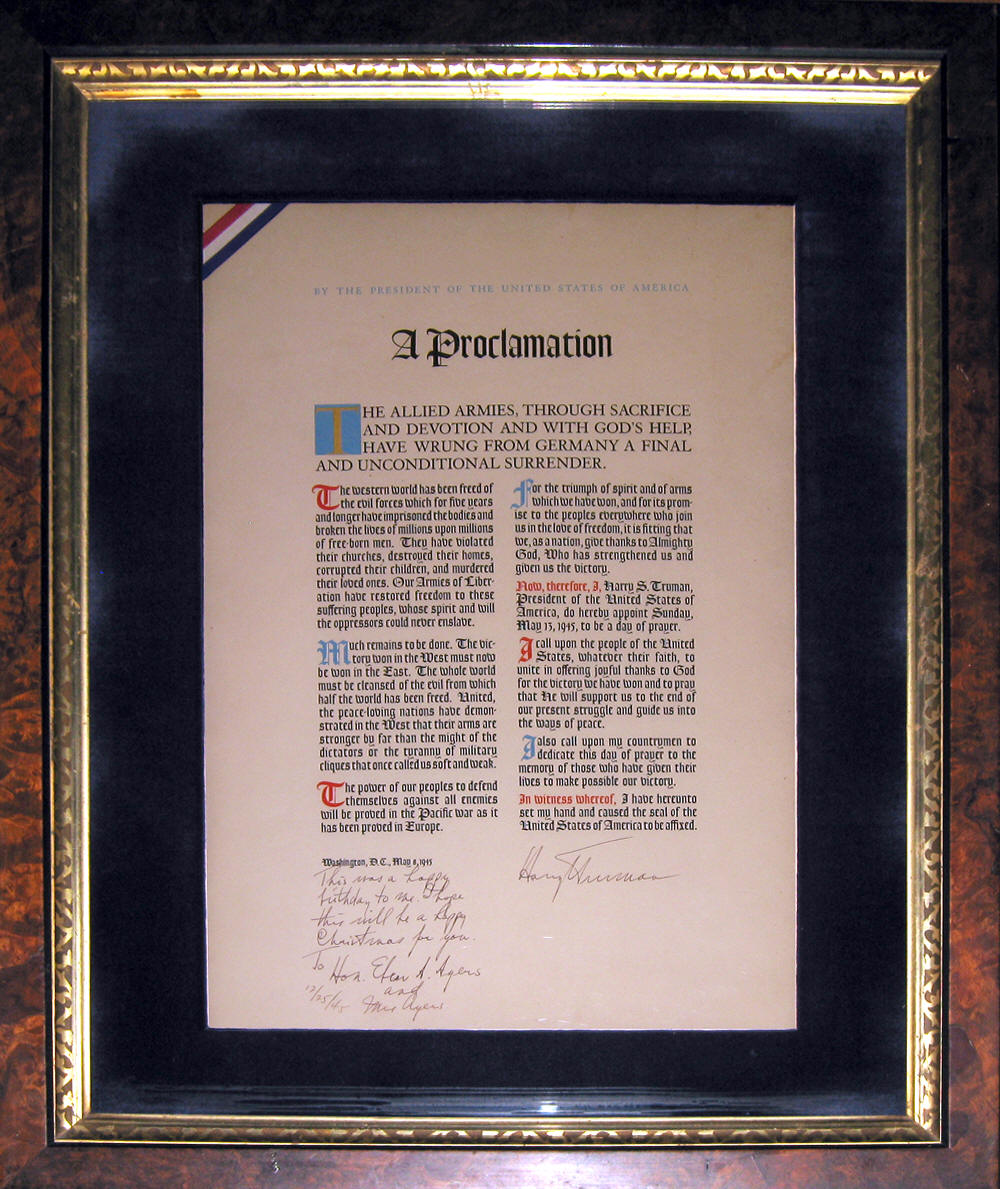 TRUMAN D DAY PRAYER|D DAY PRAYER|SIGNED D DAY PRAYER|THE RALEIGH DEGEER AMYX COLLECTION|THE AMERICAN HERITAGE COLLECTION|RALEIGH DEGEER AMYX|