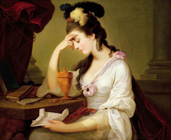Painting of Abigail Adams Reading a Letter
