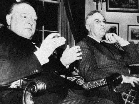 Sir Winston Churchill at the White House with FDR