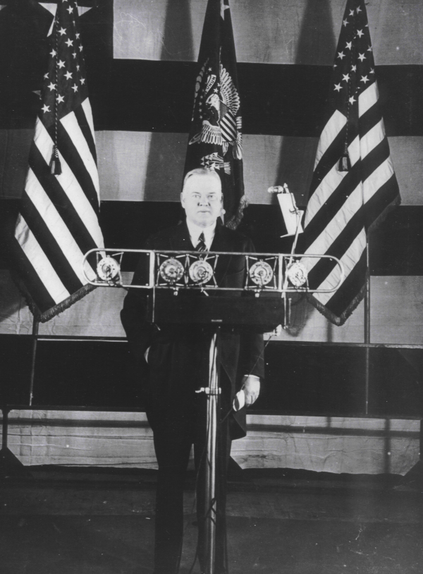 Hoover at the microphone