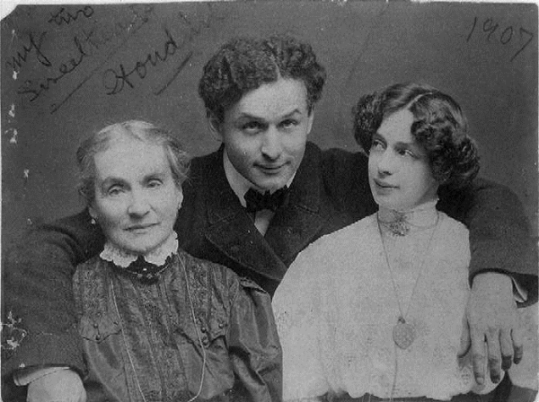 Houdini with mom and wife