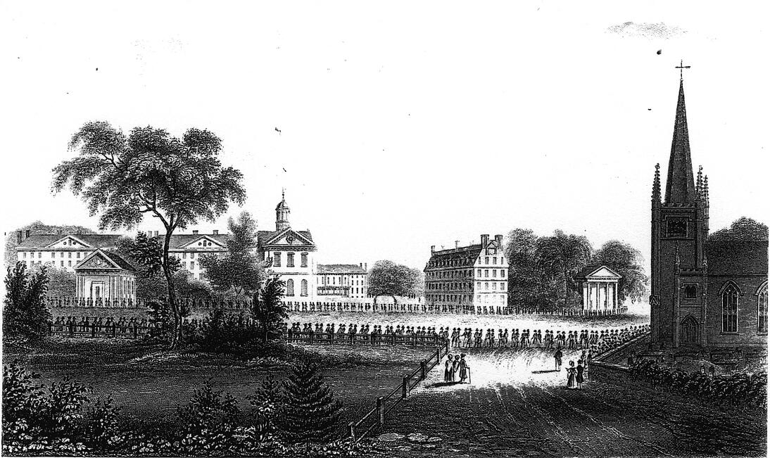 old Harvard college, where John Quincy Adams obtained his degree
